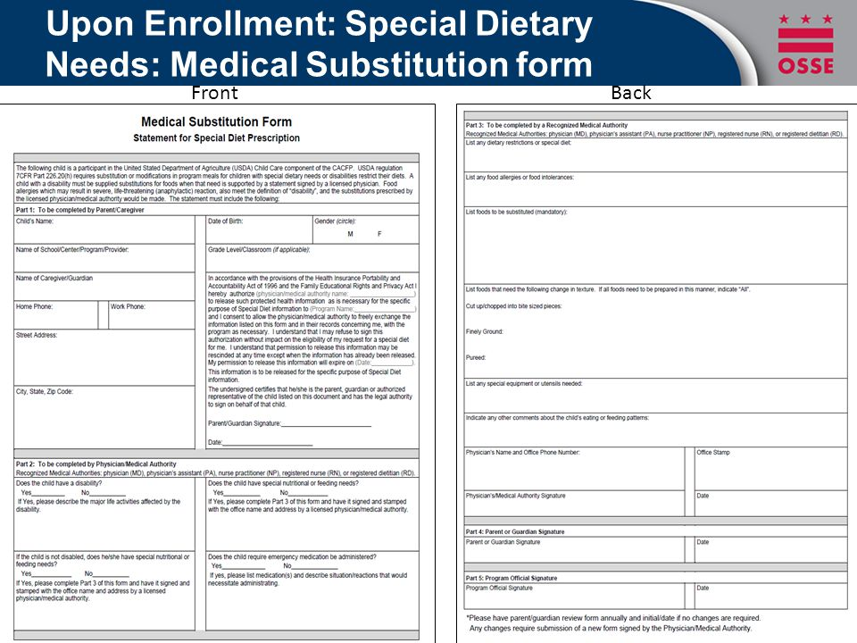 Upon Enrollment: Special Dietary Needs: Medical Substitution form BackFront