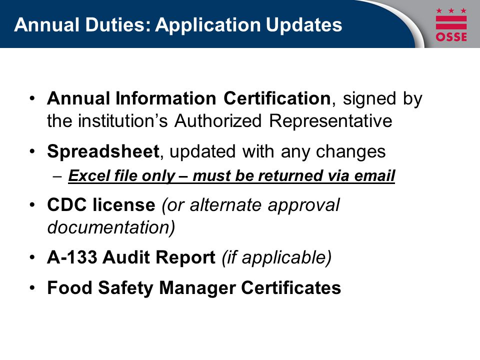 Annual Duties: Application Updates Annual Information Certification, signed by the institution's Authorized Representative Spreadsheet, updated with any changes –Excel file only – must be returned via email CDC license (or alternate approval documentation) A-133 Audit Report (if applicable) Food Safety Manager Certificates