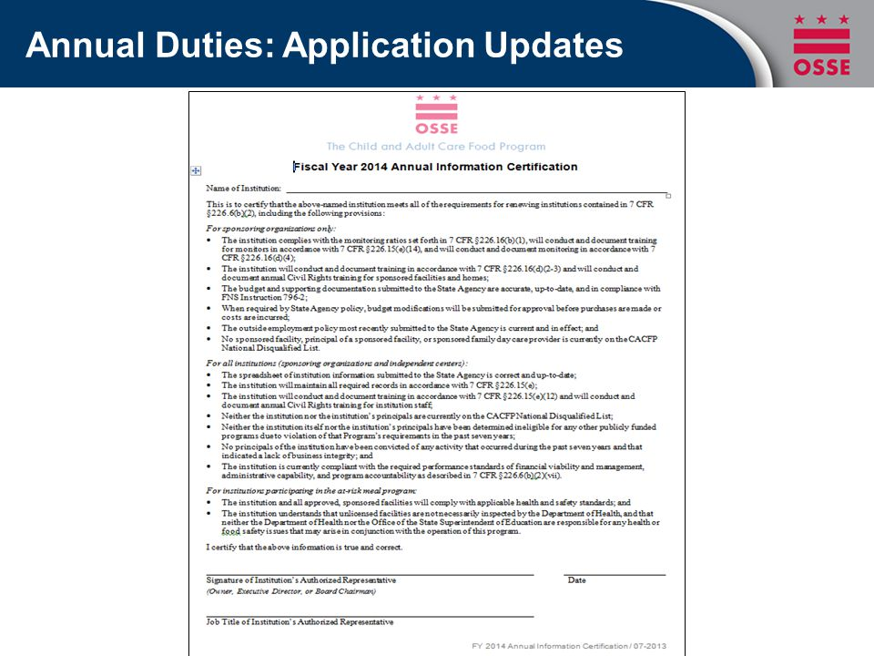 Annual Duties: Application Updates