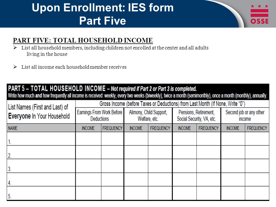 Upon Enrollment: IES form Part Five PART FIVE: TOTAL HOUSEHOLD INCOME  List all household members, including children not enrolled at the center and