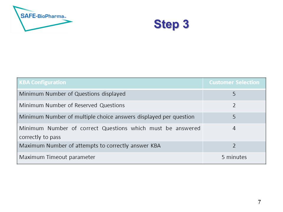 Step 3 KBA ConfigurationCustomer Selection Minimum Number of Questions displayed5 Minimum Number of Reserved Questions2 Minimum Number of multiple choice answers displayed per question5 Minimum Number of correct Questions which must be answered correctly to pass 4 Maximum Number of attempts to correctly answer KBA2 Maximum Timeout parameter5 minutes Example of KBA quiz parameters – which can be customized for the client: 7