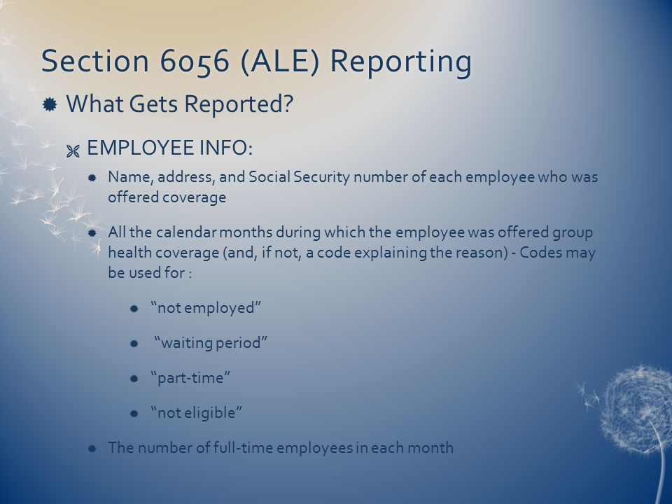 Section 6056 (ALE) ReportingSection 6056 (ALE) Reporting  What Gets Reported?  EMPLOYEE INFO:  Name, address, and Social Security number of each em