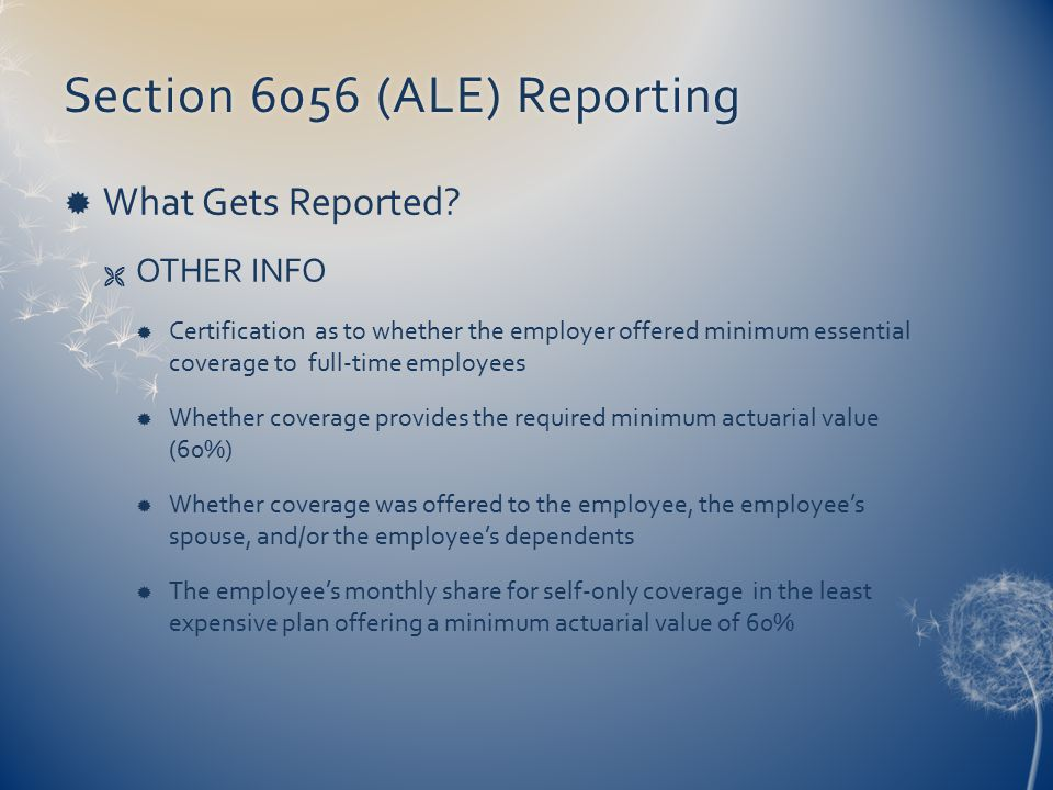 Section 6056 (ALE) ReportingSection 6056 (ALE) Reporting  What Gets Reported.
