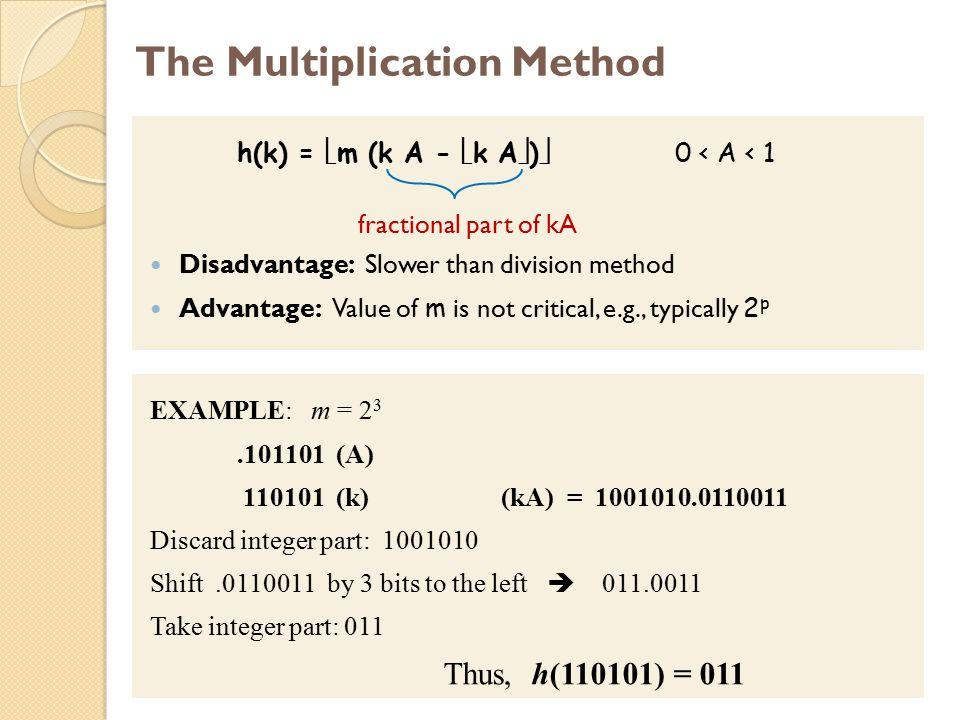 The Multiplication Method h(k) =  m (k A -  k A  )  0 < A < 1 fractional part of kA Disadvantage: Slower than division method Advantage: Value of