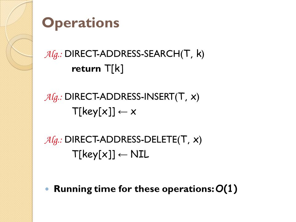 Operations Alg.: DIRECT-ADDRESS-SEARCH( T, k ) return T[k] Alg.: DIRECT-ADDRESS-INSERT( T, x ) T[key[x]] ← x Alg.: DIRECT-ADDRESS-DELETE( T, x ) T[key