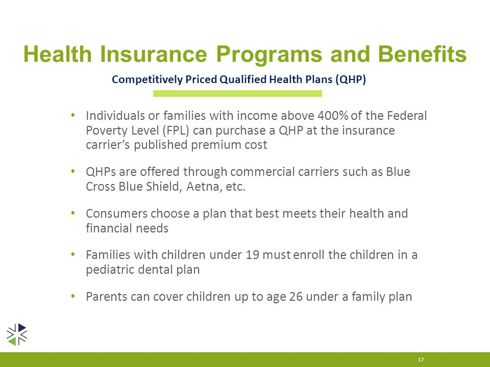 Health Insurance Programs and Benefits Individuals or families with income above 400% of the Federal Poverty Level (FPL) can purchase a QHP at the ins