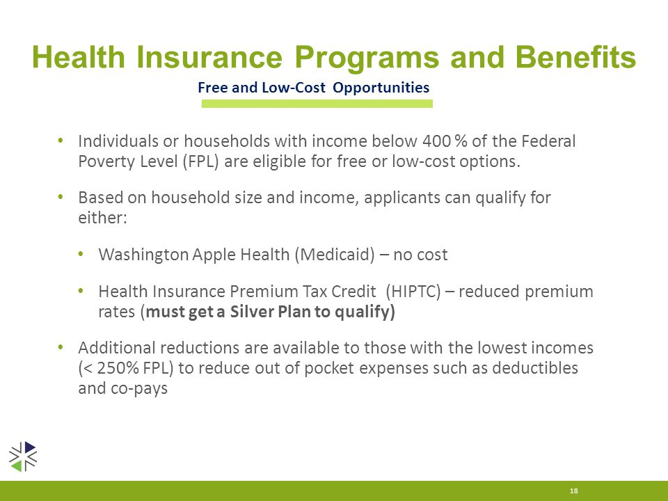 Health Insurance Programs and Benefits Individuals or households with income below 400 % of the Federal Poverty Level (FPL) are eligible for free or l