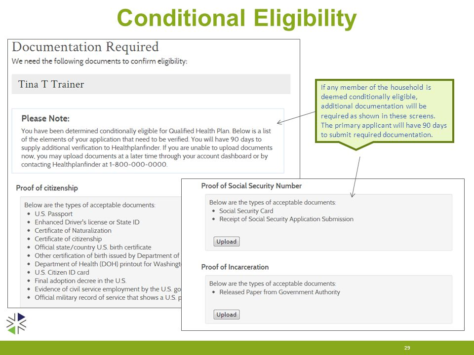 Conditional Eligibility 29 If any member of the household is deemed conditionally eligible, additional documentation will be required as shown in thes
