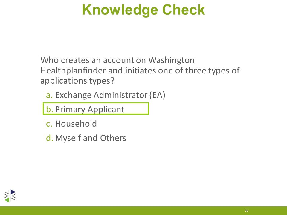 Knowledge Check 36 Who creates an account on Washington Healthplanfinder and initiates one of three types of applications types? a.Exchange Administra