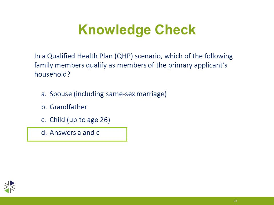 Knowledge Check 52 In a Qualified Health Plan (QHP) scenario, which of the following family members qualify as members of the primary applicant's hous