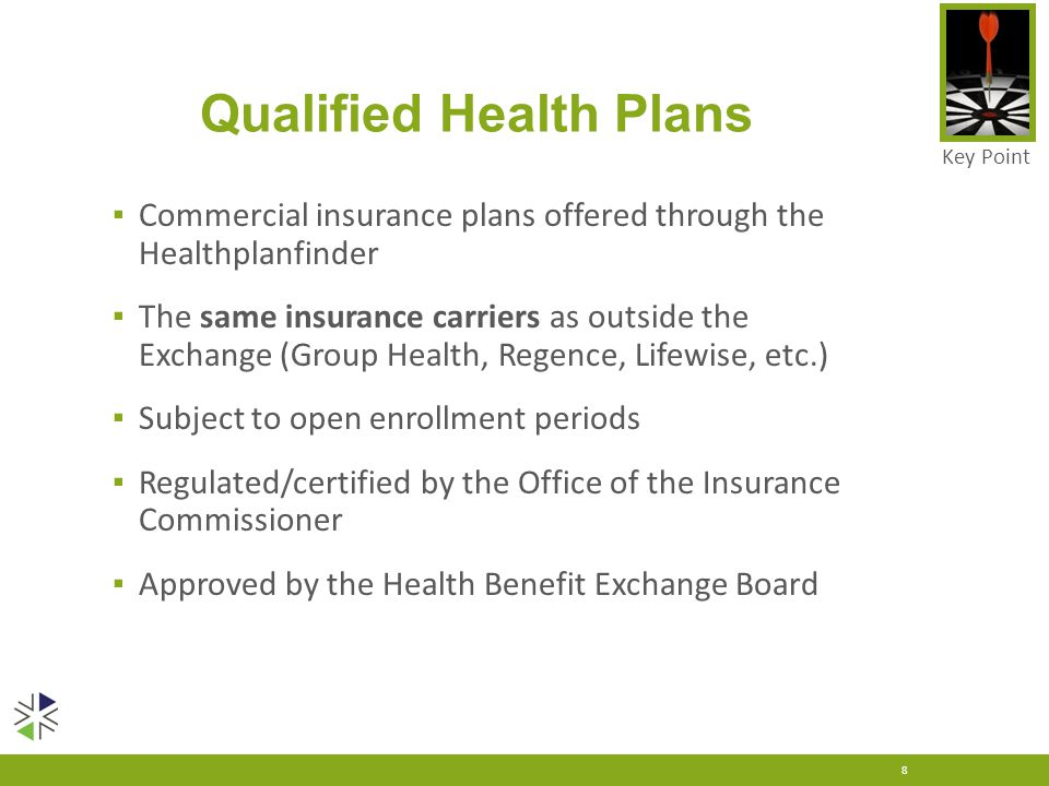 Qualified Health Plans ▪ Commercial insurance plans offered through the Healthplanfinder ▪ The same insurance carriers as outside the Exchange (Group
