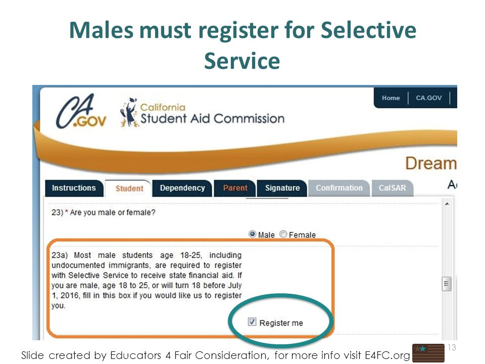 Males must register for Selective Service 13 Slide created by Educators 4 Fair Consideration, for more info visit E4FC.org