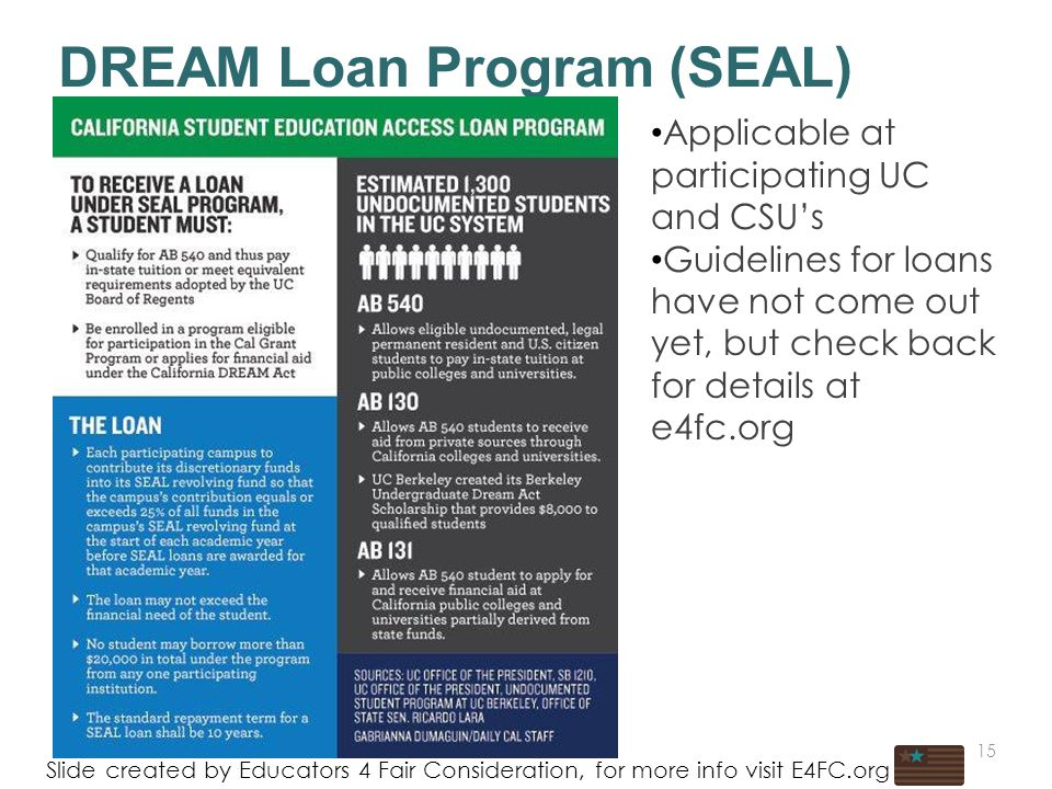 * DREAM Loan Program (SEAL) Slide created by Educators 4 Fair Consideration, for more info visit E4FC.org Applicable at participating UC and CSU's Guidelines for loans have not come out yet, but check back for details at e4fc.org 15