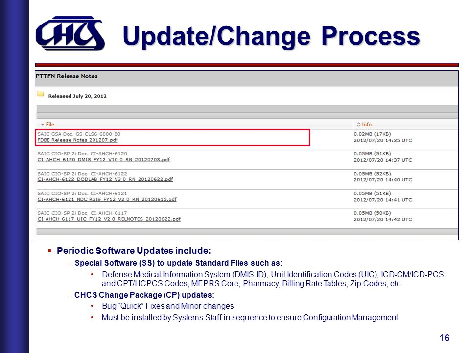 16 Update/Change Process  Periodic Software Updates include: -Special Software (SS) to update Standard Files such as: Defense Medical Information Sys