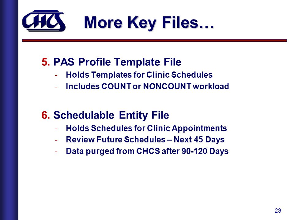 23 More Key Files… 5. PAS Profile Template File -Holds Templates for Clinic Schedules -Includes COUNT or NONCOUNT workload 6. Schedulable Entity File