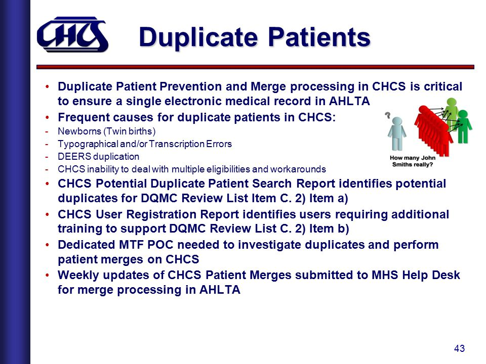 43 Duplicate Patients Duplicate Patient Prevention and Merge processing in CHCS is critical to ensure a single electronic medical record in AHLTA Freq