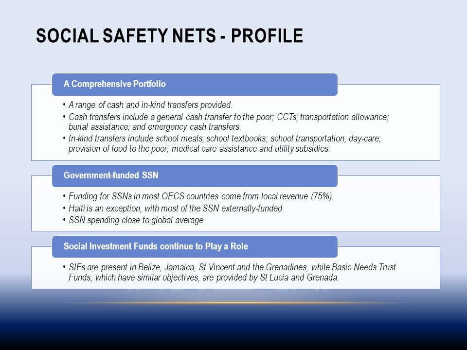 SOCIAL SAFETY NETS - PROFILE A range of cash and in-kind transfers provided. Cash transfers include a general cash transfer to the poor; CCTs; transpo