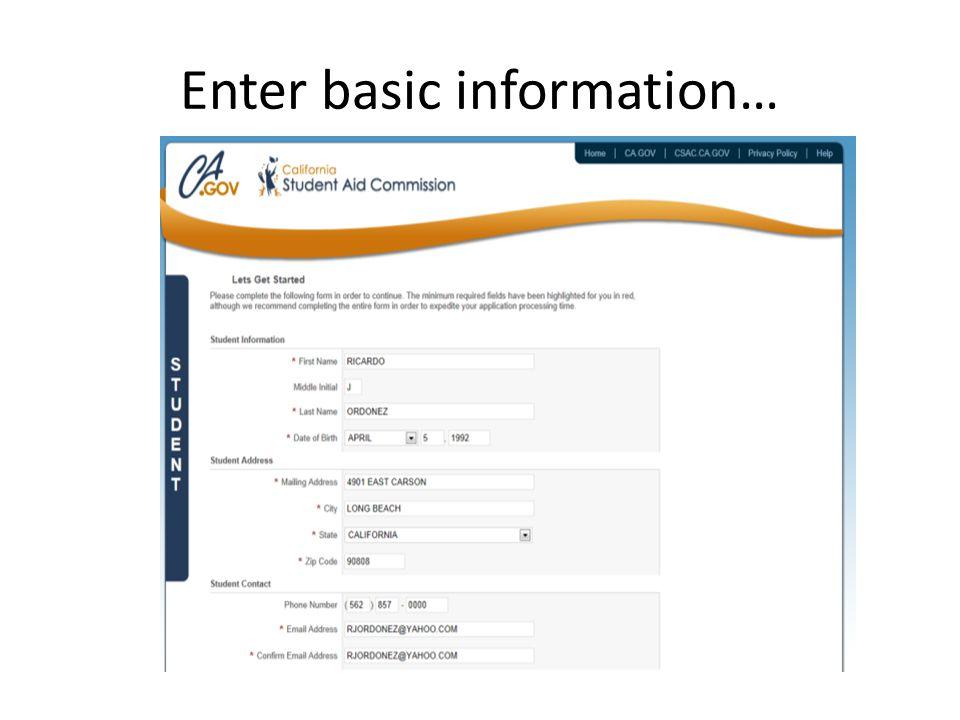 Enter basic information…