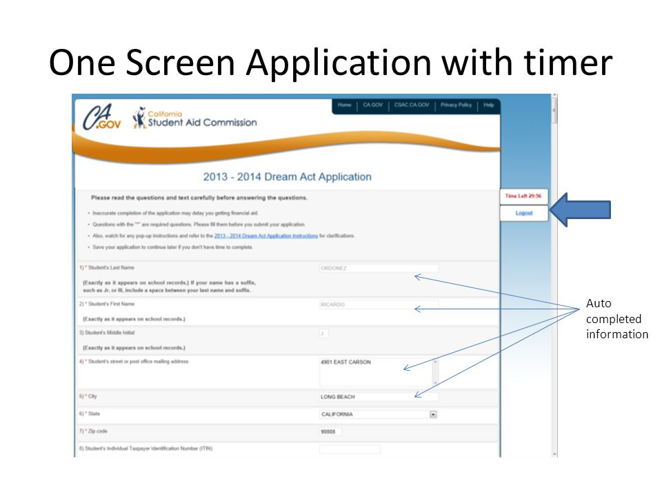 One Screen Application with timer Auto completed information