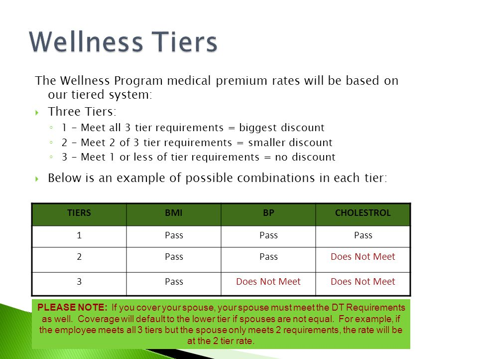 The Wellness Program medical premium rates will be based on our tiered system:  Three Tiers: ◦ 1 - Meet all 3 tier requirements = biggest discount ◦ 2 - Meet 2 of 3 tier requirements = smaller discount ◦ 3 - Meet 1 or less of tier requirements = no discount  Below is an example of possible combinations in each tier: TIERSBMIBPCHOLESTROL 1Pass 2 Does Not Meet 3PassDoes Not Meet PLEASE NOTE: If you cover your spouse, your spouse must meet the DT Requirements as well.