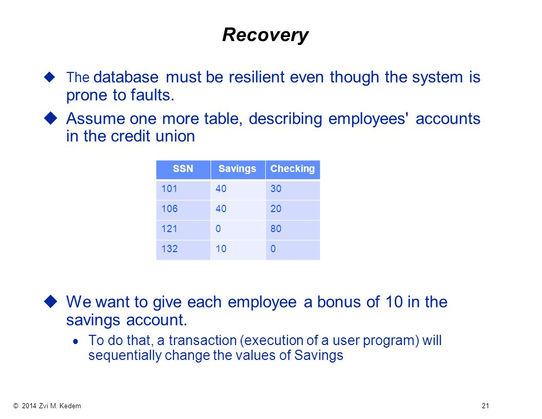 © 2014 Zvi M. Kedem 21 Recovery uThe database must be resilient even though the system is prone to faults. uAssume one more table, describing employee