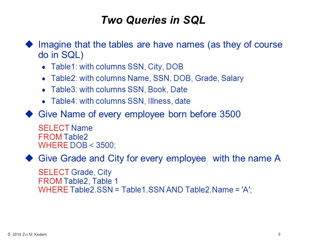 © 2014 Zvi M. Kedem 9 Two Queries in SQL uImagine that the tables are have names (as they of course do in SQL)  Table1: with columns SSN, City, DOB 