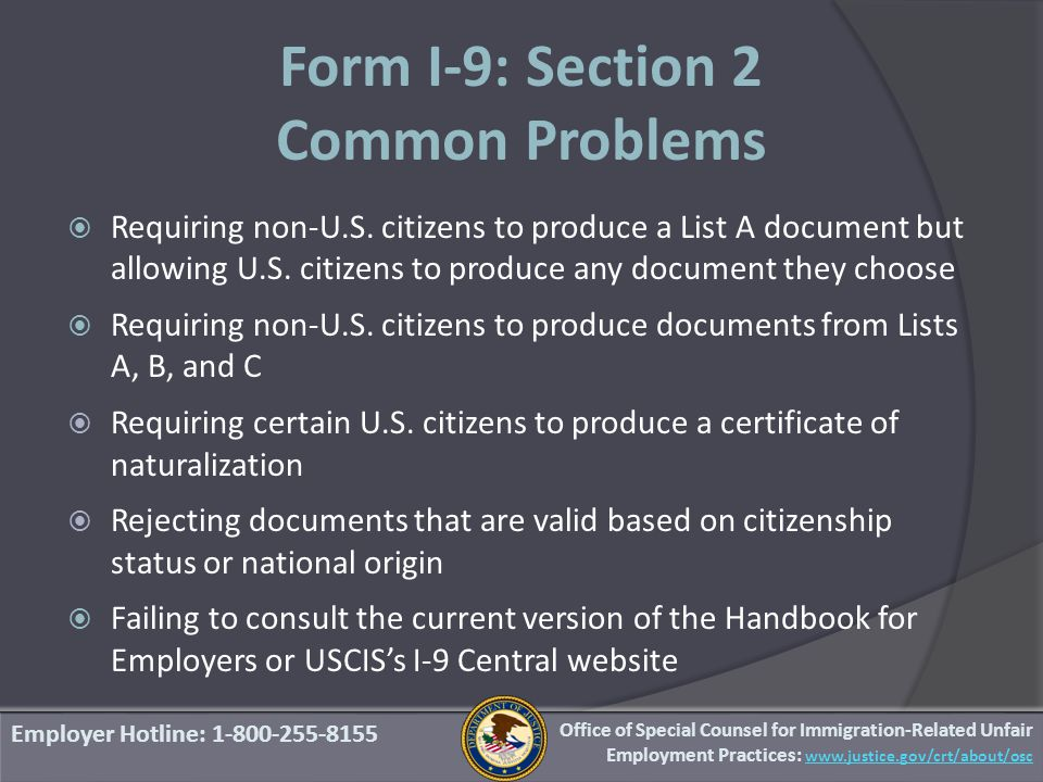 Form I-9: Section 2 Common Problems  Requiring non-U.S.
