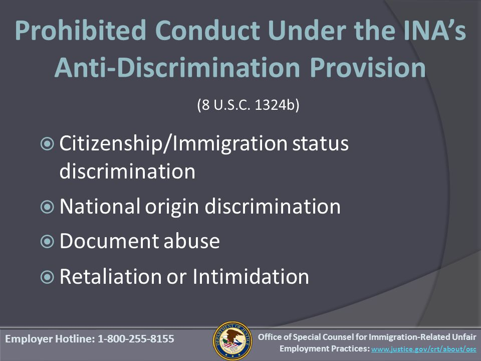 Prohibited Conduct Under the INA's Anti-Discrimination Provision (8 U.S.C.