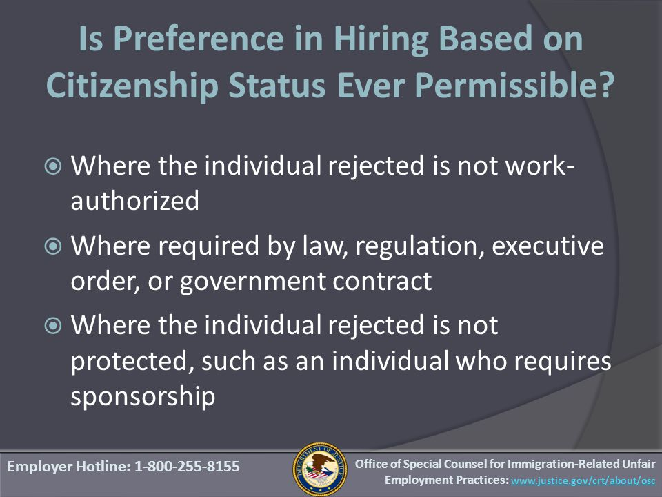Is Preference in Hiring Based on Citizenship Status Ever Permissible.