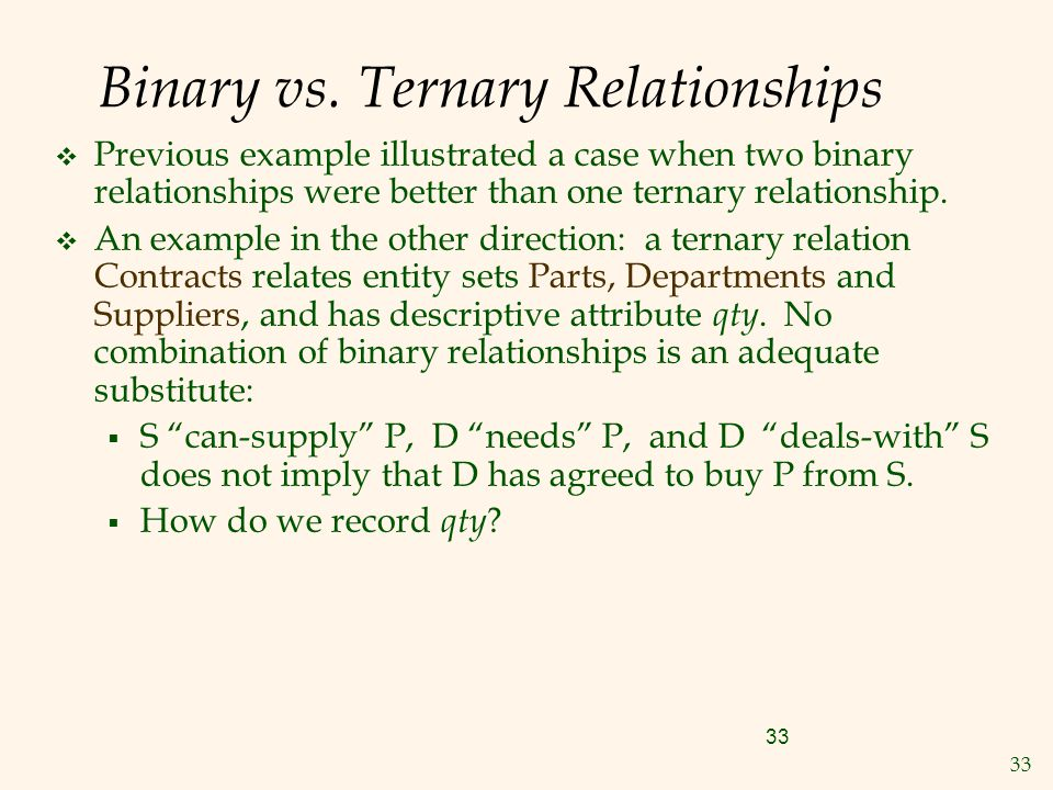 33 Binary vs. Ternary Relationships  Previous example illustrated a case when two binary relationships were better than one ternary relationship.  A