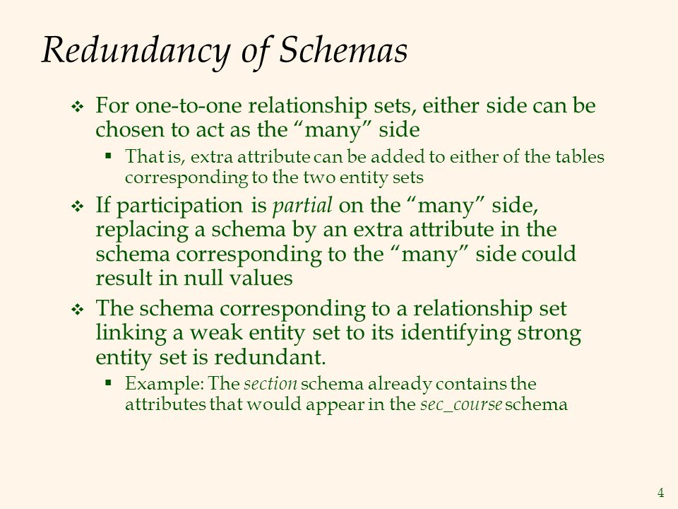 """4 Redundancy of Schemas  For one-to-one relationship sets, either side can be chosen to act as the """"many"""" side  That is, extra attribute can be adde"""