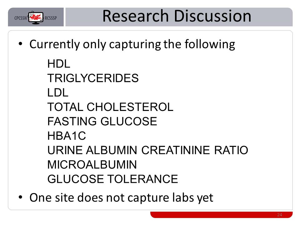 Research Discussion Currently only capturing the following One site does not capture labs yet 24 HDL TRIGLYCERIDES LDL TOTAL CHOLESTEROL FASTING GLUCOSE HBA1C URINE ALBUMIN CREATININE RATIO MICROALBUMIN GLUCOSE TOLERANCE