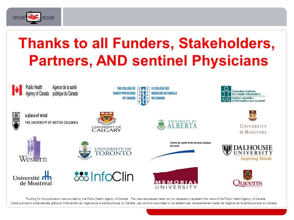 Thanks to all Funders, Stakeholders, Partners, AND sentinel Physicians Cette publication a été réalisée grâce au financement de l Agence de la santé publique du Canada.
