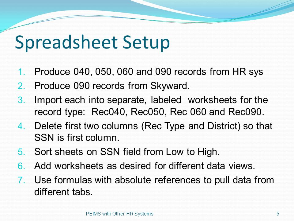 Excel formulas Copy SSN column of a record type into a new worksheet Add VLOOKUP formula to pull data onto new sheet.