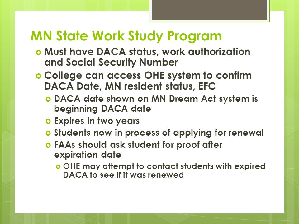 SELF Loan Program  Available to students attending MN colleges or MN residents attending in other states  No immigration requirements for borrower  Co-signer must be U.S.