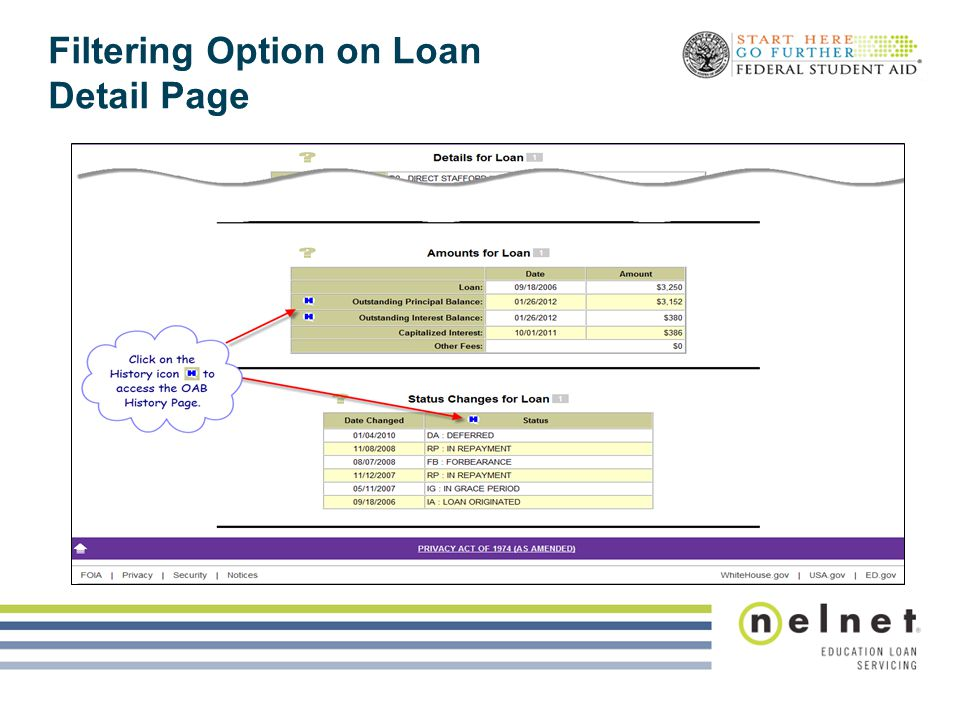 Filtering Option on Loan Detail Page