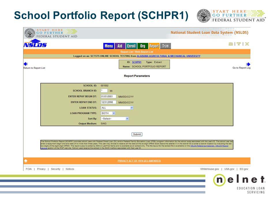 School Portfolio Report (SCHPR1)
