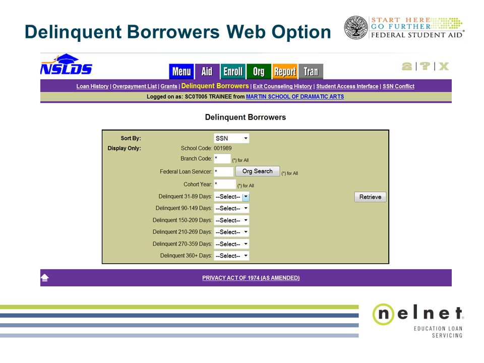 Delinquent Borrowers Web Option
