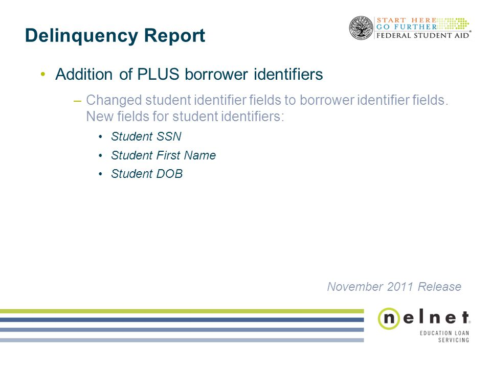 Delinquency Report Addition of PLUS borrower identifiers –Changed student identifier fields to borrower identifier fields. New fields for student iden