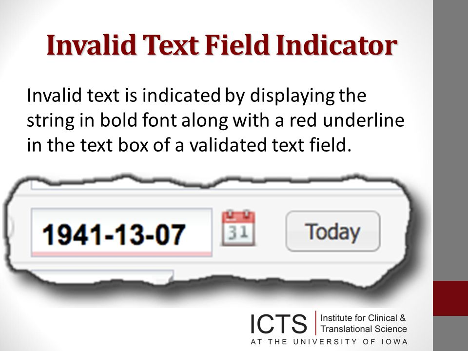 Invalid Text Field Indicator Invalid text is indicated by displaying the string in bold font along with a red underline in the text box of a validated text field.