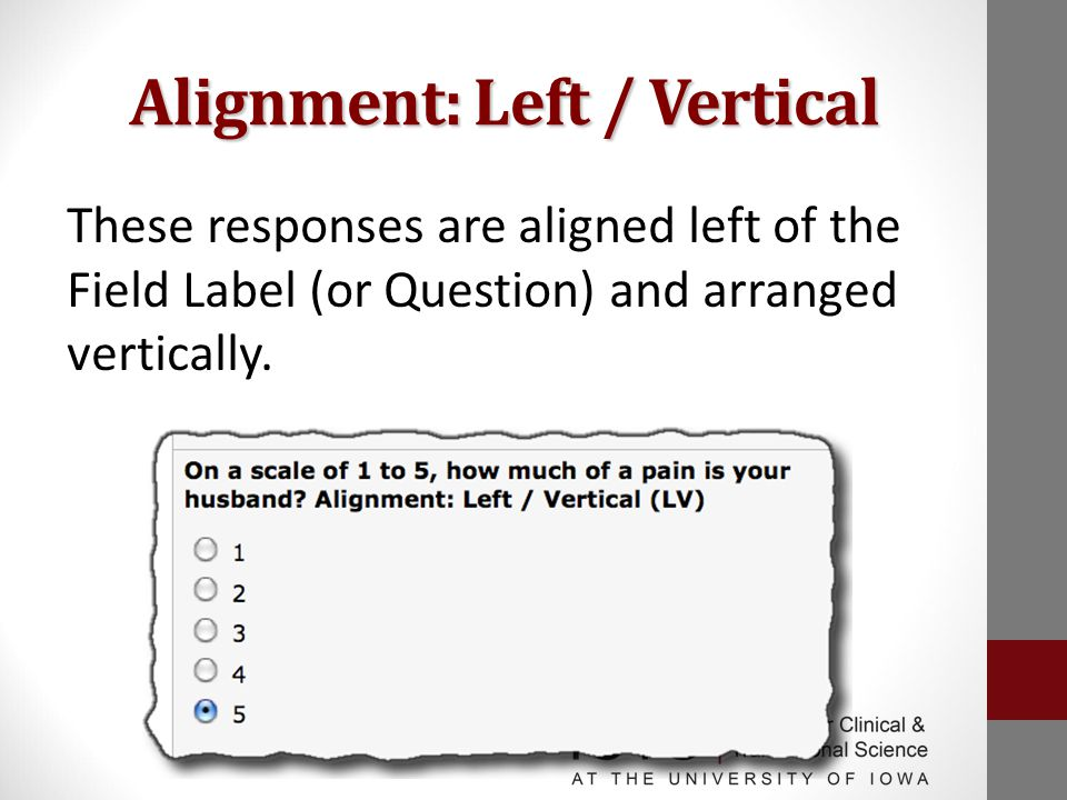 Alignment: Left / Vertical These responses are aligned left of the Field Label (or Question) and arranged vertically.