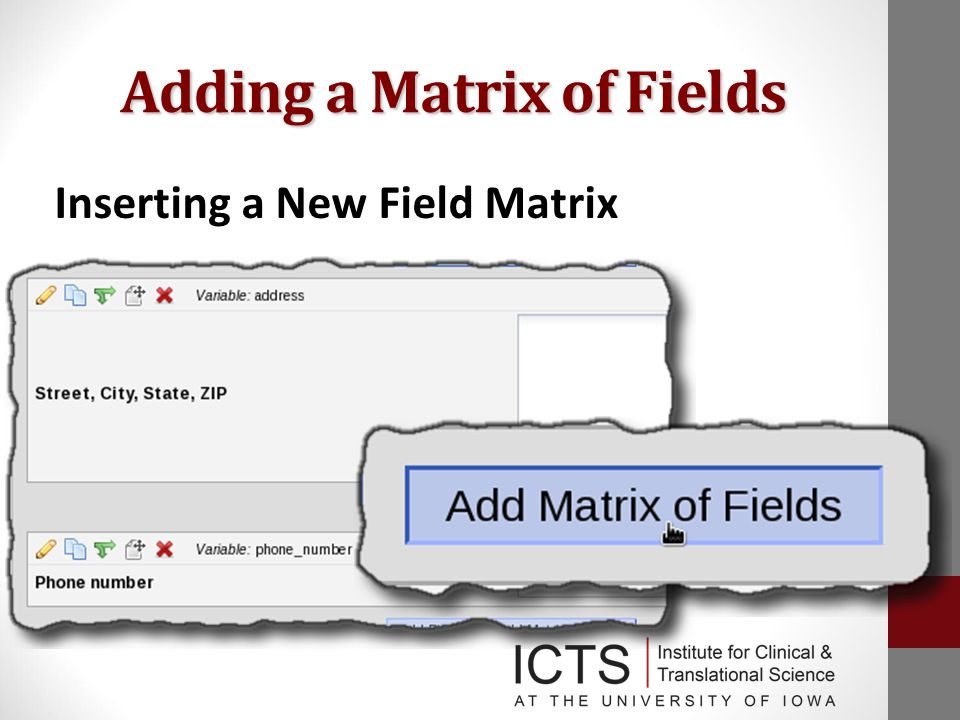 Adding a Matrix of Fields Inserting a New Field Matrix