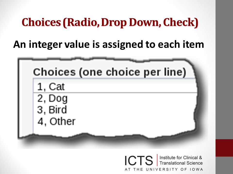 Choices (Radio, Drop Down, Check) An integer value is assigned to each item