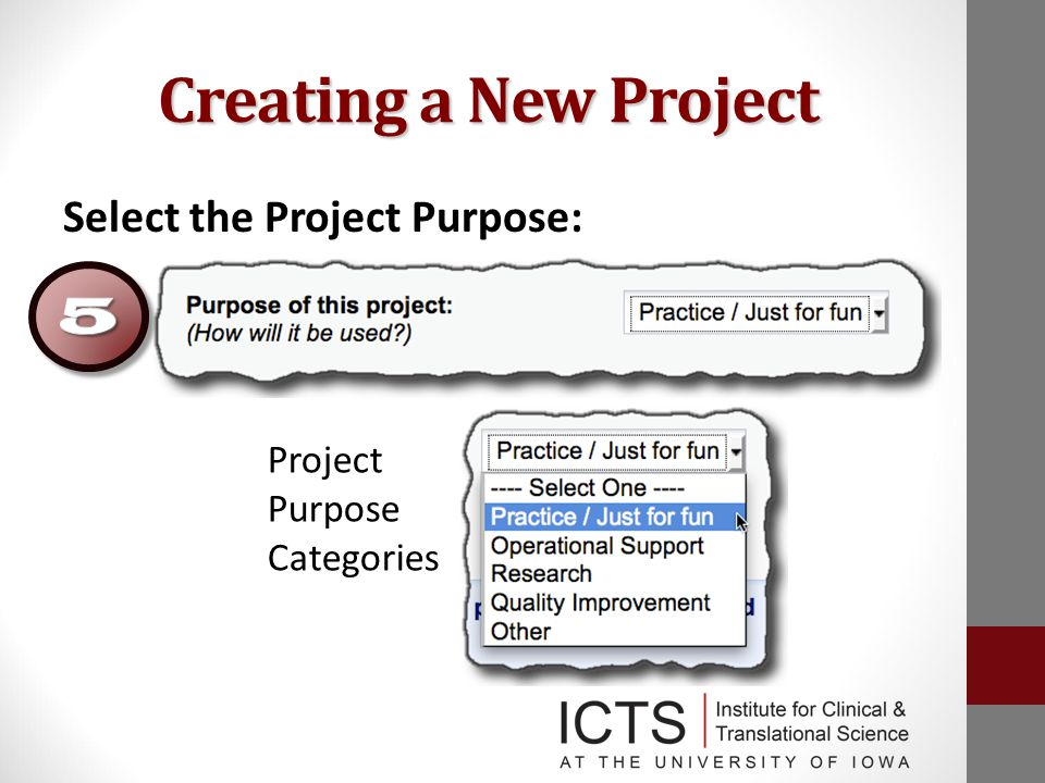 Creating a New Project Select the Project Purpose: Project Purpose Categories :