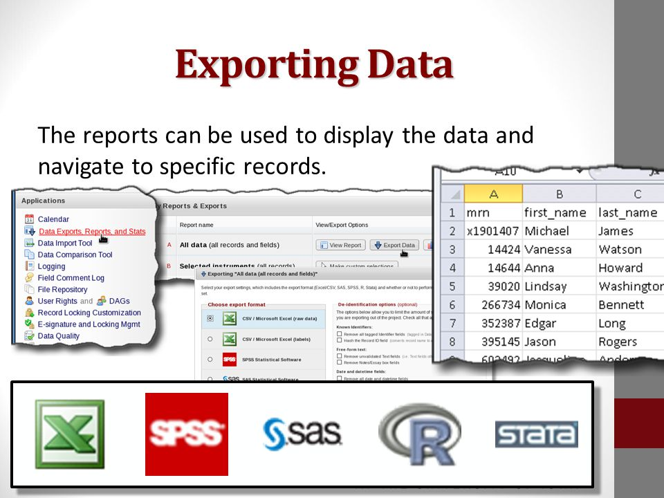 Exporting Data The reports can be used to display the data and navigate to specific records.