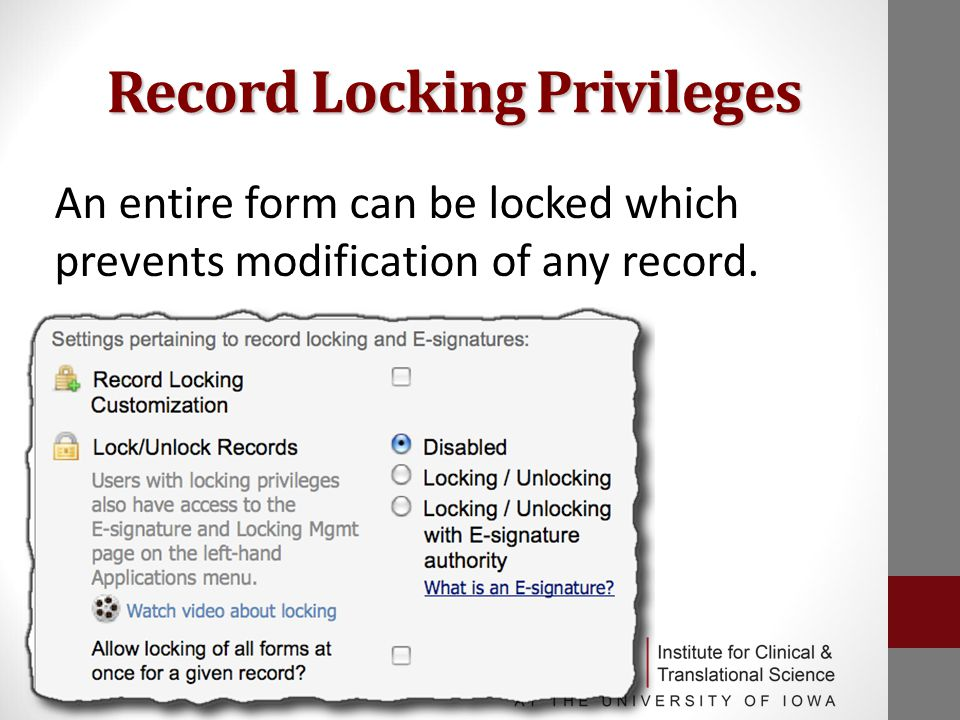 Record Locking Privileges An entire form can be locked which prevents modification of any record.