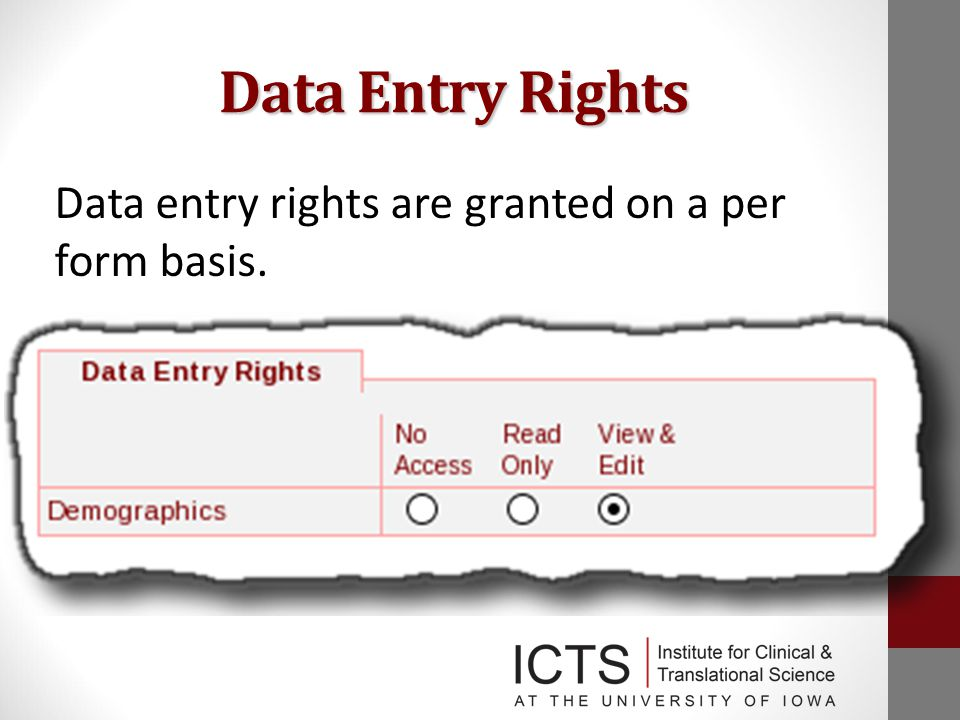 Data Entry Rights Data entry rights are granted on a per form basis.