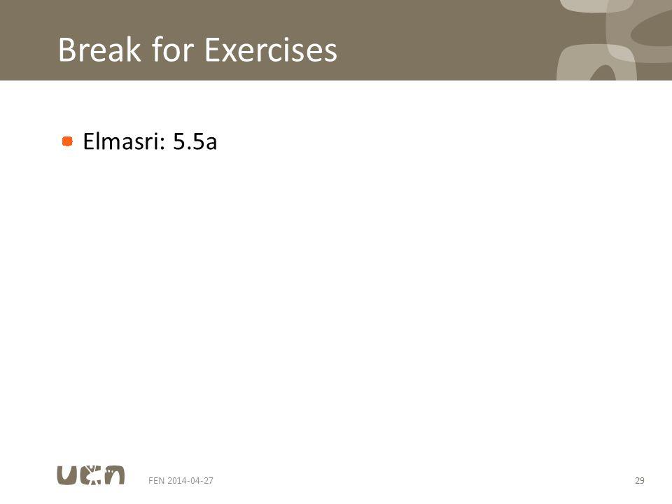 Break for Exercises Elmasri: 5.5a FEN 2014-04-2729