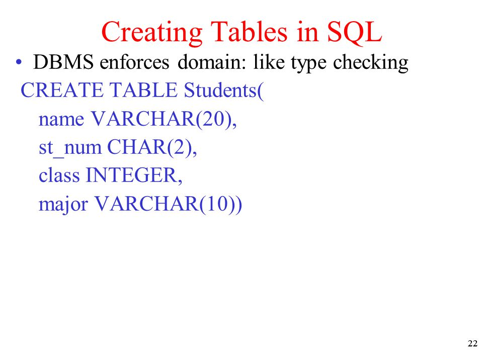 22 Creating Tables in SQL DBMS enforces domain: like type checking CREATE TABLE Students( name VARCHAR(20), st_num CHAR(2), class INTEGER, major VARCH