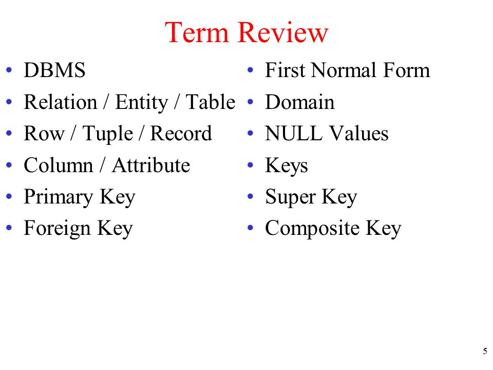 Term Review DBMS Relation / Entity / Table Row / Tuple / Record Column / Attribute Primary Key Foreign Key First Normal Form Domain NULL Values Keys S